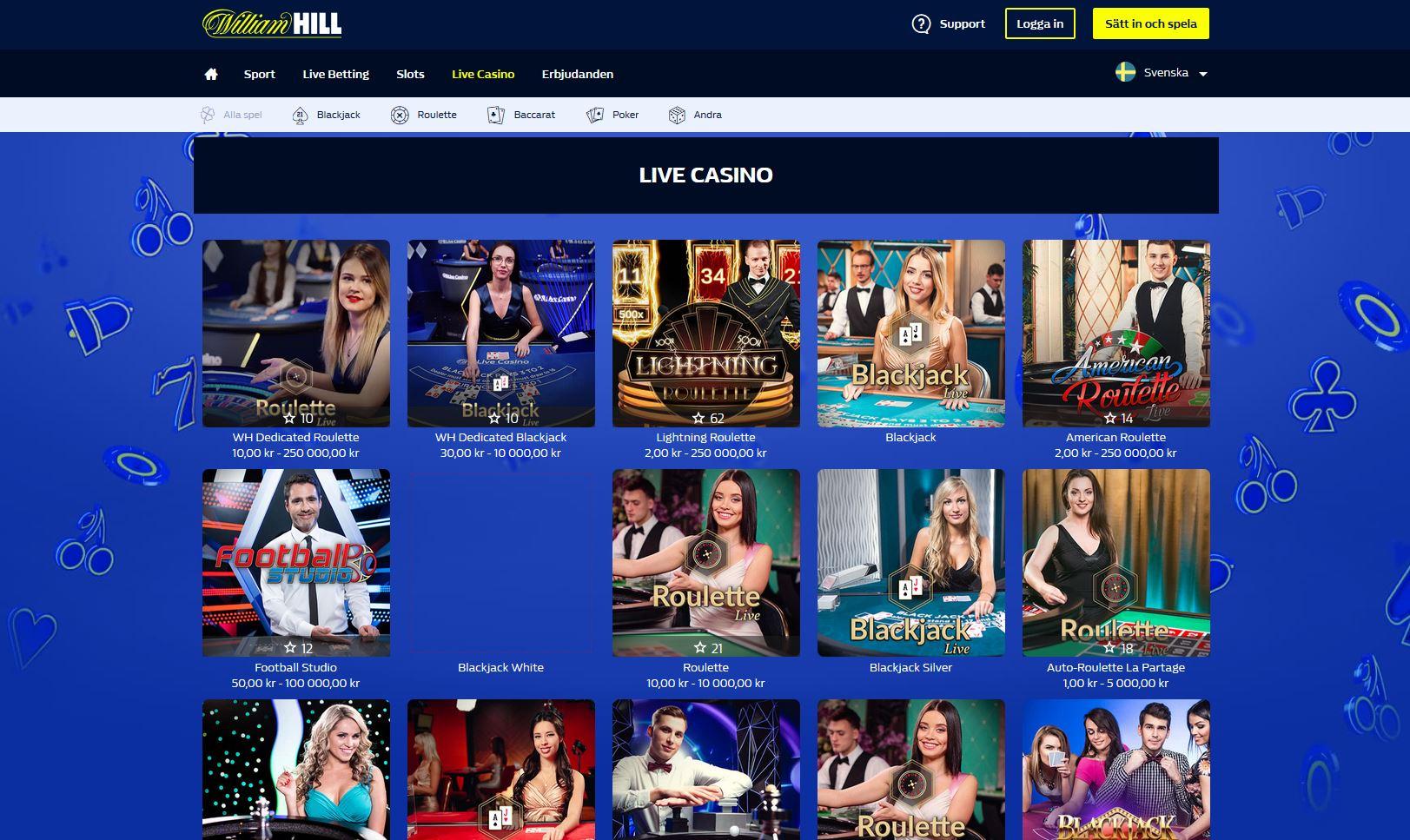 Förklarar live casino hos William Hill när vi tar oss till Casino hos William Hill.