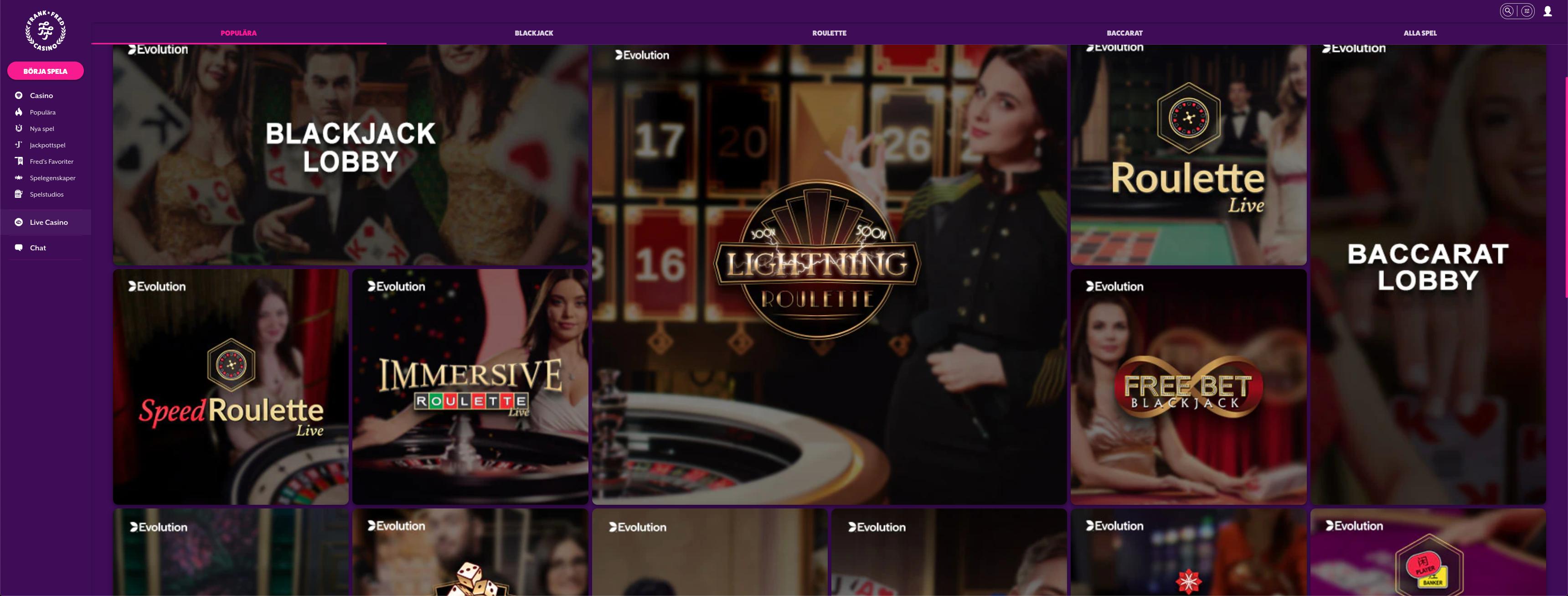 Frank Fred Live Casino spel