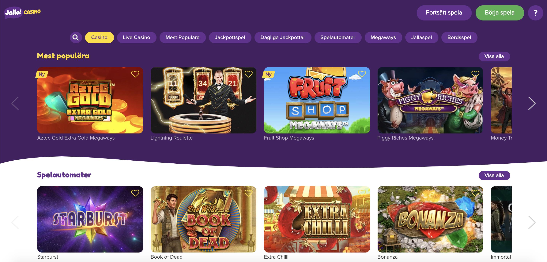 Spela på över 1400 slots och spelautomater hos Jalla Casino