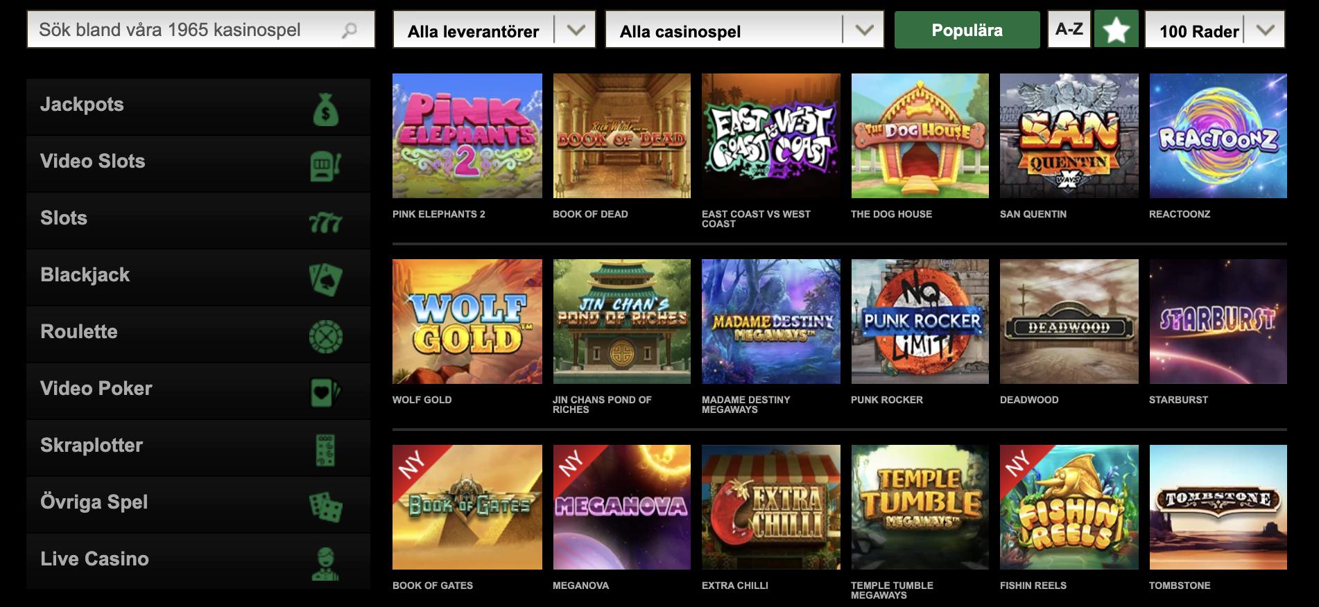 Casino Slots hos spelbolaget