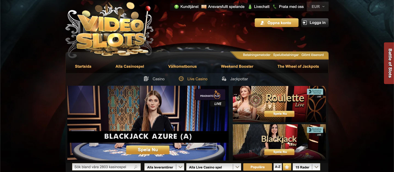 Videoslots Live Casino för Svenska spelare