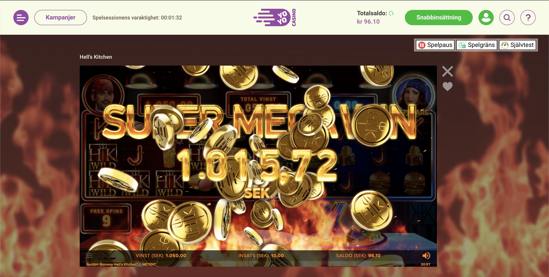 YoYo Casino Vinst - Gordon Ramsay, Hell Kitchen Video slot
