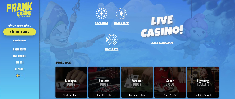 Prankcasino live casino