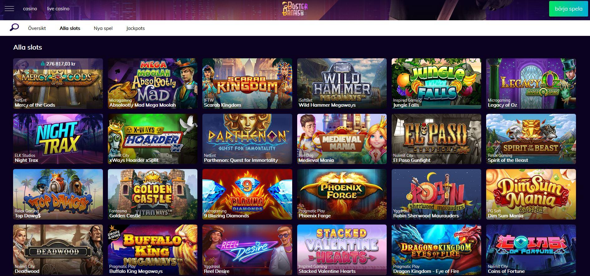 Busterbanks casino spelautomater