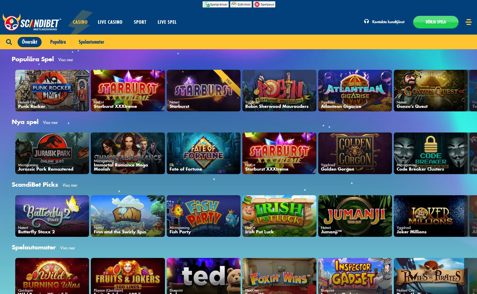 Startsida för Scandibet casino