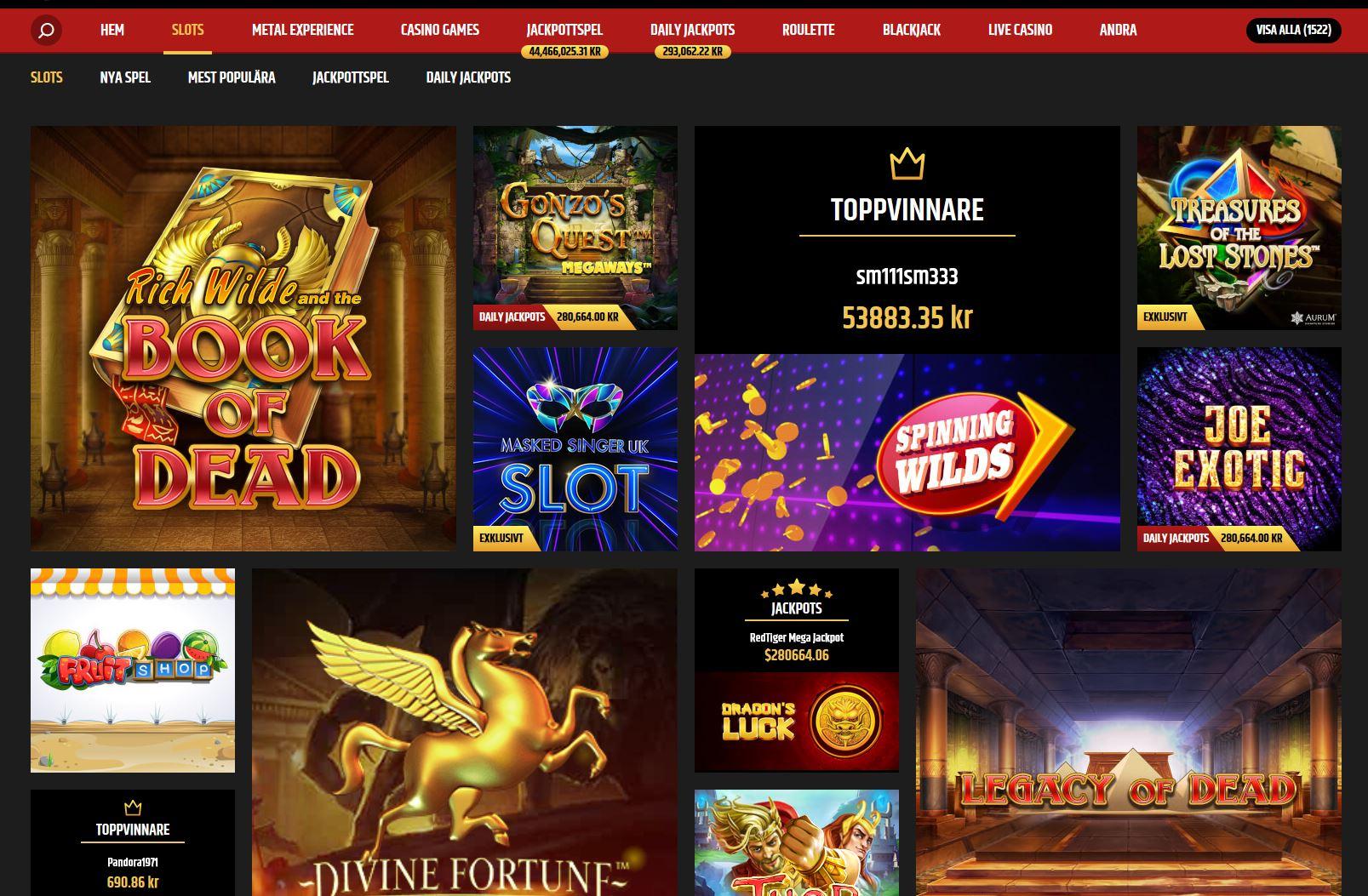 Spelautomater hos Metal Casino